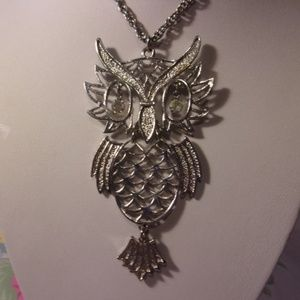 Vtg Silver Tone Articulated Owl Pendant Necklace